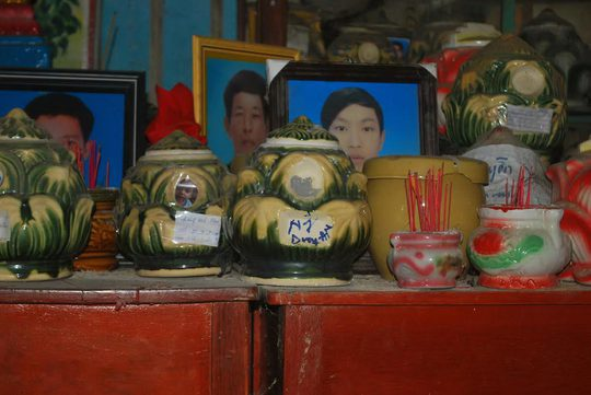 Hũ cốt được cho là của ông Nguyễn Duy An đang được trông giữ tại chùa Thôn Dôn