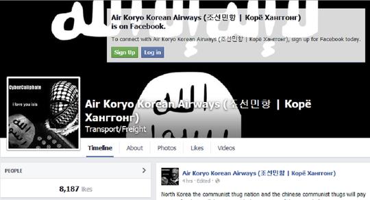 Trang Facebook của hãng hàng không Air Koryo bị tấn công. Ảnh: RIA Novosti