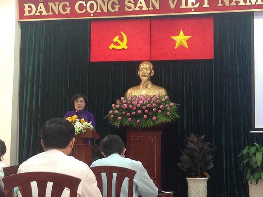 Bà Nguyễn Thị Hồng - Ủy viên Ban Thường vụ Thành Ủy, Phó Chủ tịch UBND TP HCMphát biểu chỉ đạo tại hội nghị