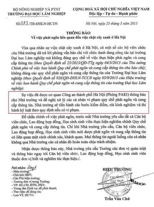 Công văn của trường ĐH Lâm Nghiệp lan truyền trên mạng