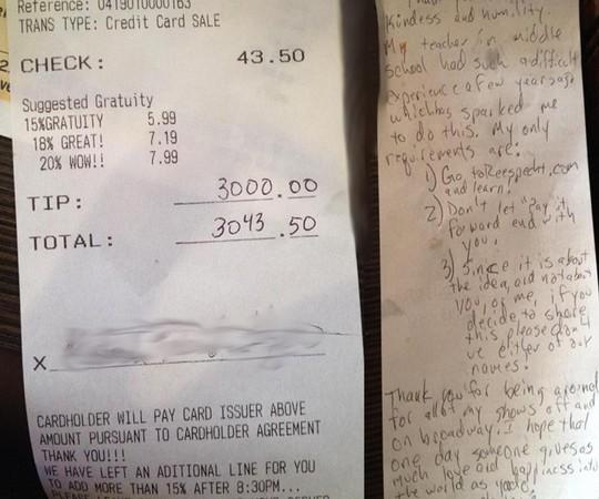 Hóa đơn thanh toán của ông Mike gồm tiền boa 3.000 USD. Ảnh: Australia Womens Weekly