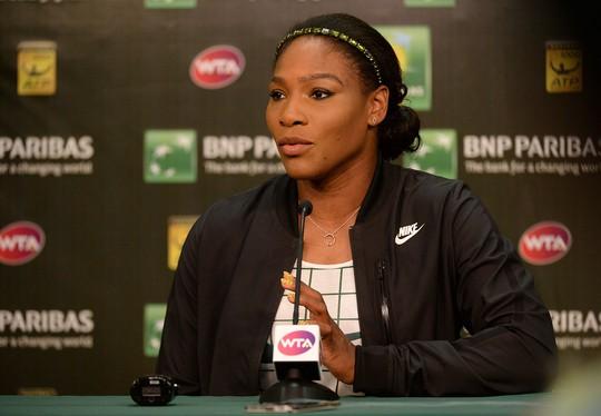 Serena trong buổi họp báo trước khi khởi tranh Giải Quần vợt Indian Wells 2015 hôm 12-3 Ảnh: REUTERS