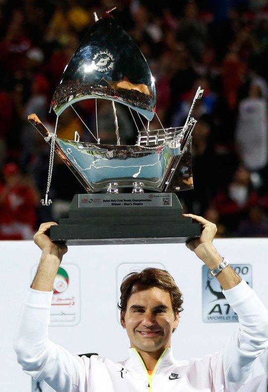 """Federer trở thành """"vua"""" của Giải Dubai với kỷ lục 7 lần vô địch  Ảnh: REUTERS"""
