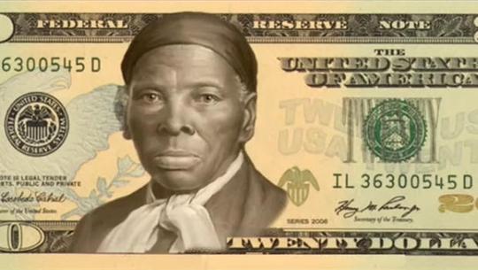 """Chiến dịch """"Phụ nữ trên đồng 20 USD"""" mô tả hình ảnh bà Harriet Tubman trên tờ 20 USD Ảnh: CBS News"""