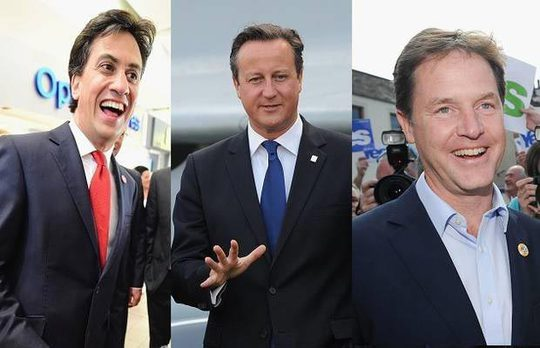 Ba thủ lĩnh các đảng chính ở Anh: Ed Miliband (Công đảng), David Cameron (Bảo thủ), Nick Clegg (Dân chủ tự do) đều tích cực chạy đua tranh cử tới phút chót Ảnh: INDEPENTDENT