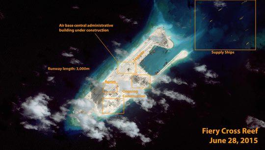 Hình ảnh vệ tinh về Đá Chữ Thập do Công ty DigitalGlobe chụp hôm 28-6 Ảnh: ABC