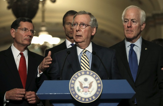 Thượng nghị sĩ Cộng hòa Mitch McConnell, thủ lĩnh phe đa số tại thượng viện,  phát biểu tại quốc hội Mỹ hôm 23-6 Ảnh: REUTERS