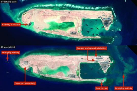Hình ảnh vệ tinh cho thấy đường băng trên Đá Chữ thập đang thành hình. Ảnh: UPI