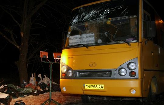 Chiếc xe buýt gặp nạn hôm 13-1. Ảnh: TASS