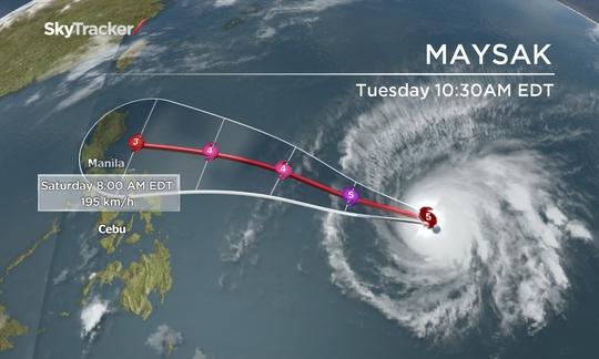 Maysak dư kiến đổ bộ Philippines ngày 4-4 tời và suy yếu. Ảnh: Global News