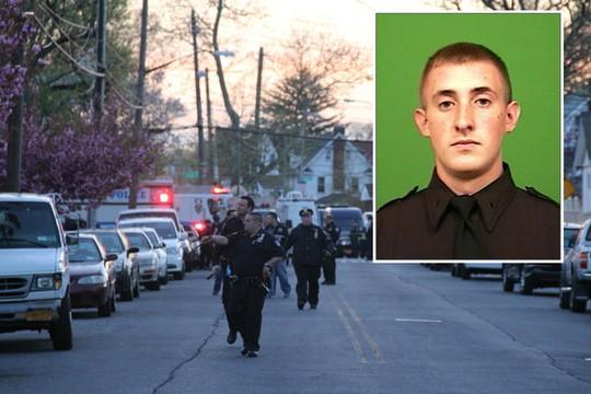 Cảnh sát Brian Moore (ảnh nhỏ) và hiện trường vụ nổ súng. Ảnh: DNAinfo