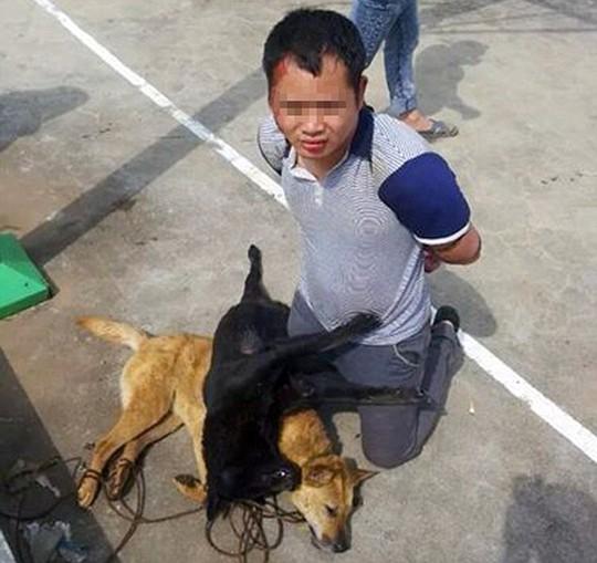 Hai kẻ trộm chó bị đánh bầm dập. Ảnh: Daily Mail
