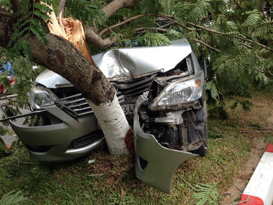 Đầu chiếc xe ô tô bẹp dúm, dính chặt vào cây phượng