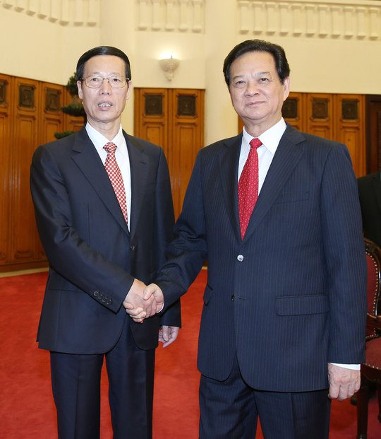 Thủ tướng Nguyễn Tấn Dũng tiếp Phó Thủ tướng Trung Quốc Trương Cao Lệ Ảnh: TTXVN