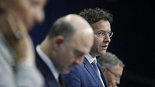 Chủ tịch Eurogroup (nhóm bộ trưởng tài chính các nước Eurozone), ông Jeroen Dijsselbloem, tại cuộc họp báo hôm 20-2. Ảnh: EPA