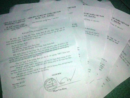 Các văn bản xác nhận bằng giả của Sở GD-ĐT tỉnh Thừa Thiên-Huế gửi cơ quan chức năng.