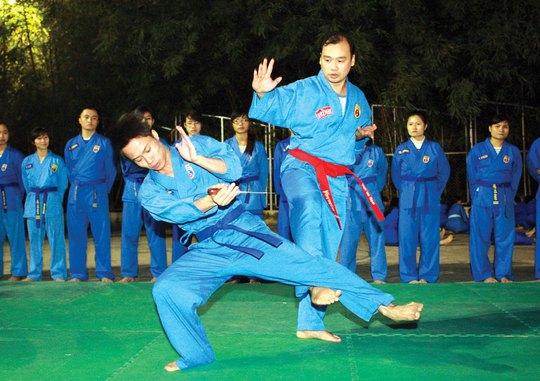 Võ sư Lê Hải Bình trên sàn tập võ Vovinam Ảnh: QUANG LIÊM