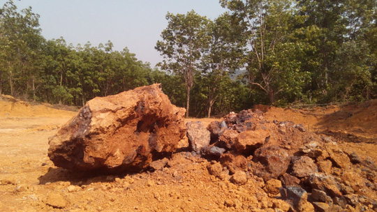 Hiện trường khai thác quặng sắt tại mỏ Đại Sơn, xã Hương Phú