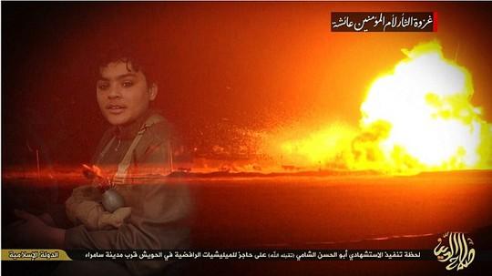 Hình ảnh vụ nổ trùng với khu vực bị tấn công ở TP Samarra. Ảnh: Daily Mail