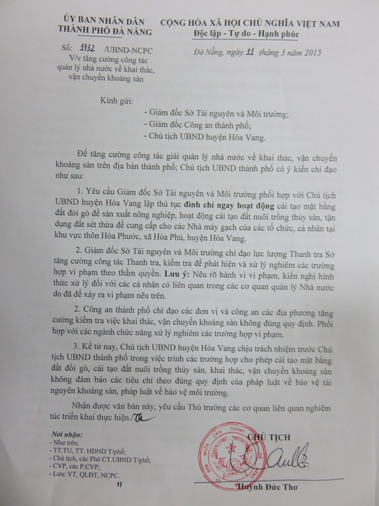 Công văn 1732/UBND-NCLC ký ngày 11-3-2015 của tân chủ tịch UBND TP Đà Nẵng Huỳnh Đức Thơ.