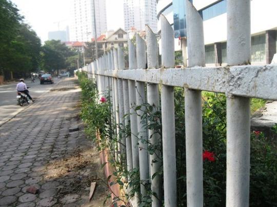 Hàng rào sắt đã bị rỉ sét ngăn cản người lạ vào trong khuôn viên bệnh viện
