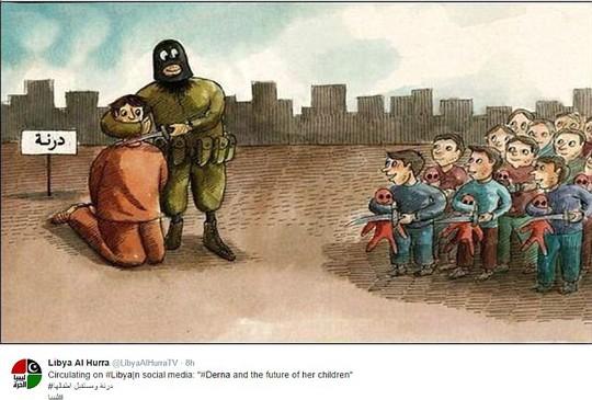 Bức biếm hoạ của một họa sĩ Libya. Ảnh: Daily Mail