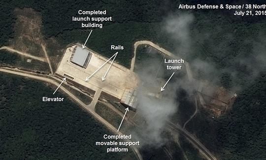 Ảnh chụp từ vệ tinh cho thấy khu vực phóng tên lửa của Triều Tiên đã được nâng cấp. Ảnh: AP