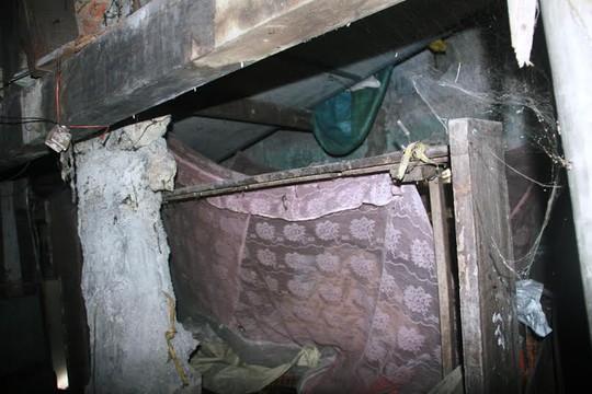 Chiếc giường ngủ của ông Hộ ở nơi ẩm thấp, mạng nhện giăng đầy