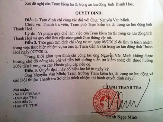 Quyết định đình chỉ công tác đối với ông Nguyễn Văn Minh