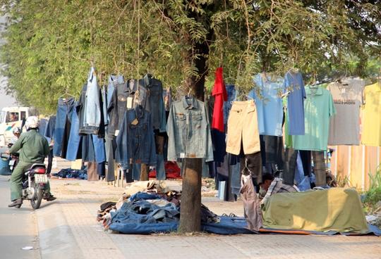 Quần áo được treo lên các dây thừng trên cây, thay vì dùng các giá đỡ