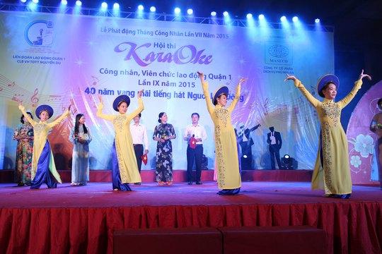 CNVC-LĐ tham gia hội thi karaoke do LĐLĐ quận 1, TP HCM tổ chức Ảnh: NGÂN HÀ