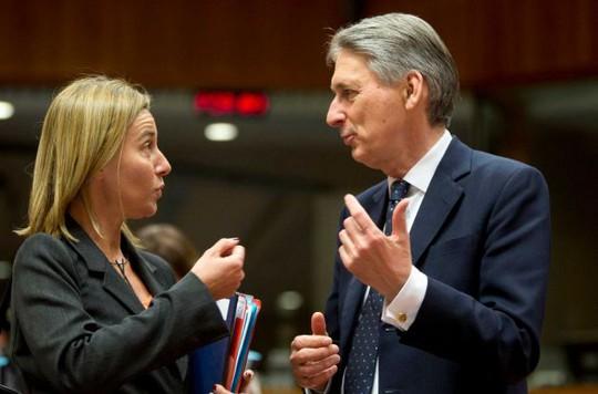 Cao Ủy Đối ngoại EU Federica Mogherini (trái) trò chuyện cùng Ngoại trưởng Anh Philip Hammond. Ảnh: AP