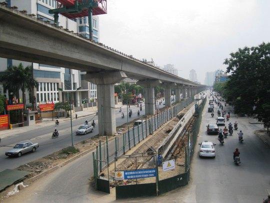 Tuyến đường sắt đô thị Cát Linh - Hà Đông đoạn đường Nguyễn Trãi, quận Thanh Xuân, TP Hà Nội  Ảnh: NGUYỄN HƯỞNG