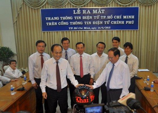 Các đại biểu trong lễ ra mắt trang thông tin điện tử TP HCM trên Cổng Thông tin điện tử Chính phủ