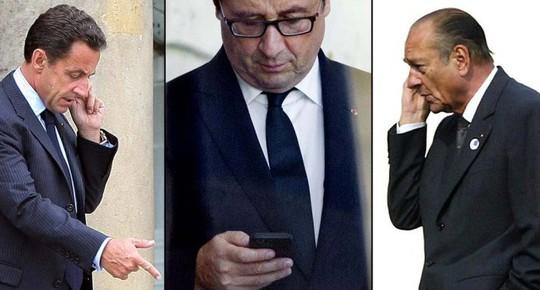 Điện thoại các tổng thống Pháp Sarkozy, Hollande và Chirac (từ trái sang) bị nghe lén mọi lúc mọi nơi Ảnh: LB