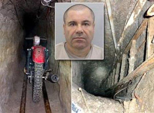 Hầm ngầm và El Chapo (ảnh nhỏ) Ảnh: JAMMEDUP