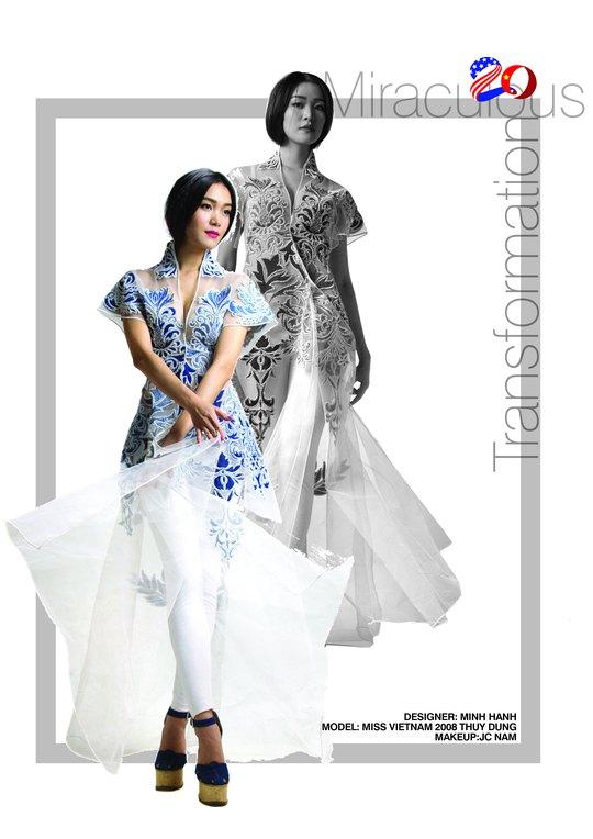 Một vài mẫu thiết kế áo dài của nhà thiết kế Minh Hạnh sẽ trình diễn tại Mỹ