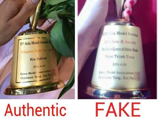 Thông tin, hình thức trình bày trên chiếc cúp ghi tên Ngọc Trinh khác hoàn toàn so với cúp thật của giải thưởng trao cho các cá nhân khác khiến công chúng cho rằng nó được làm giả. (Ảnh lấy từ Facebook)