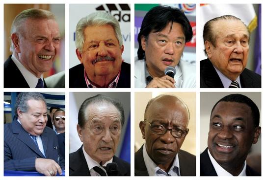 8 trong 9 quan chức bóng đá cấp cao bị Mỹ khởi tố, trong đó 7 người bị bắt giữ ở Zurich - Thụy Sĩ cuối tháng 5 vì các cáo buộc tham nhũng Ảnh: REUTERS
