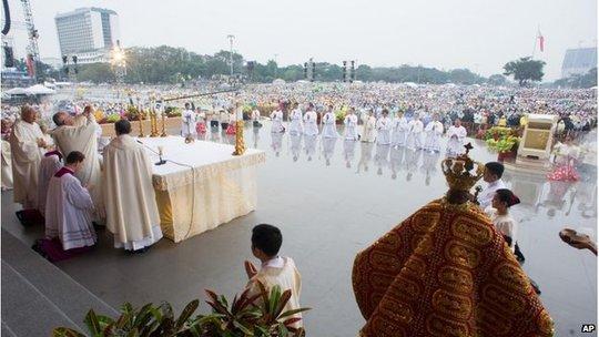 Buổi lễ thánh tại Manila sẽ kết thúc chuyến thăm châu Á của Giáo hoàng. Ảnh: AP