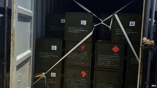 Lô hàng được tìm thấy trên tàu. Ảnh: EPA