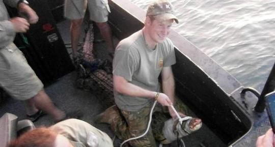 Hoàng tử Harry bắt được cá sấu