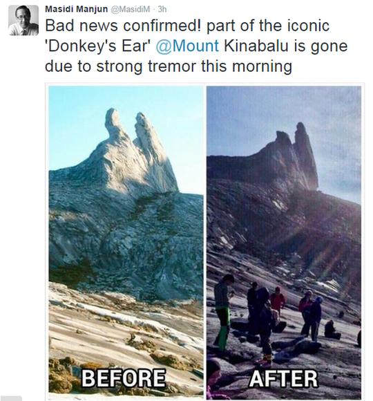 Tai lừa của đỉnh Kinabalu biến mất sau trận động đất.