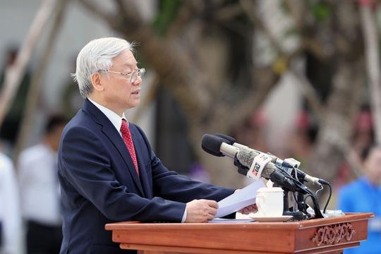 Tổng Bí thư Nguyễn Phú Trọng phát biểu tại Lễ khánh thành Tượng đài Chủ tịch Hồ Chí Minh.