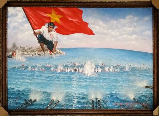 """Bức tranh """"Gạc Ma - Vòng tròn bất tử"""" được họa sĩ Bùi Lệ Trang thực hiện trong 1 tháng"""