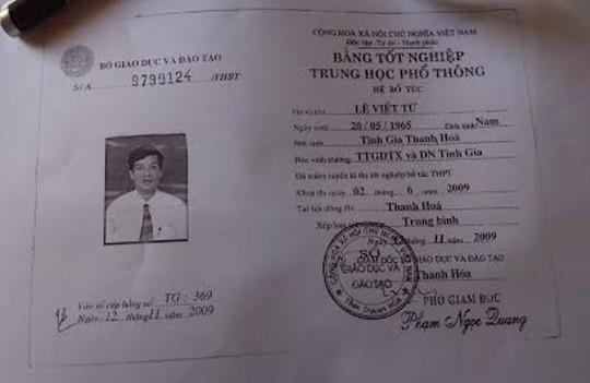 Tấm bằng tốt nghiệp cấp 3 giải được ông Lê Viết Tứ sử dụng để hợp thức hóa hô sơ