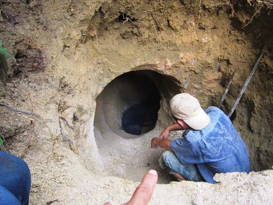 Một trong những hầm khai thác đá trái phép ở xã Xuân Lẹ, huyện Thường Xuân