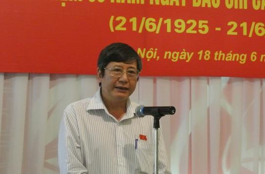 Phó Chủ tịch Thường trực Tổng LĐLĐ Trần Thanh Hải phát biểu tại lễ gặp mặt sáng 18-6