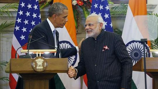Tổng thống Mỹ Barack Obama và Thủ tướng Ấn Độ Narendra Modi đạt được thỏa thuận năng lượng hạt nhân. Ảnh: Reuters