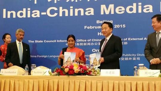 Ngoại trưởng Ấn Độ Sushma Swaraj tại một diễn đàn ở Bắc Kinh hôm 1-2 Ảnh: India Today